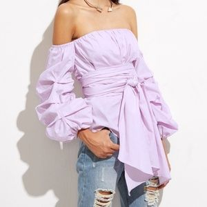 NWOT Purple Off Shoulder Top Size S/M/L